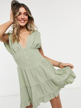 WOMEN shirred waist button front tiered mini sundress in crinkle in khaki