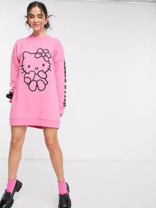 WOMEN New Girl Order x Hello Kitty oversized sweatshirt dress with contrast kitty print