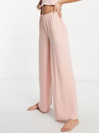 WOMEN Missguided Tall crop top and wide leg pants pajama set in pink