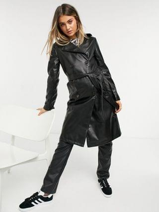 WOMEN New Look faux leather trench coat in black