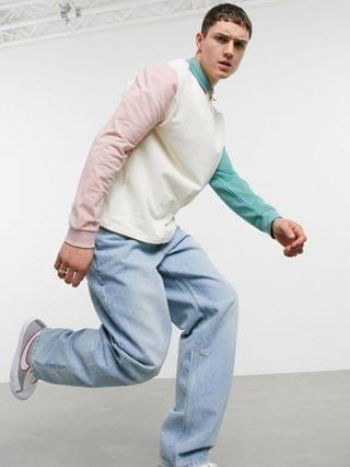 relaxed long sleeve polo T-shirt in pastel color block pique