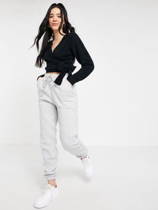 WOMEN Missguided Tall popcorn knit wrap front cardigan in black