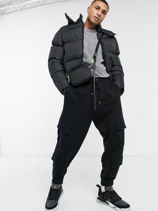 MEN cropped puffer jacket with detachable hood in black
