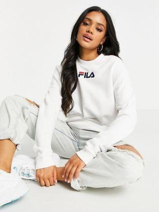 WOMEN Fila large chest logo oversized sweatshirt in white exclusive to
