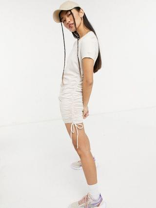 WOMEN Calvin Klein Jeans ruched T-shirt dress in white