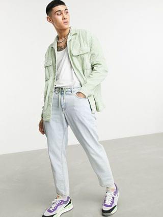 90s oversized chunky irregular cord shirt in pastel green