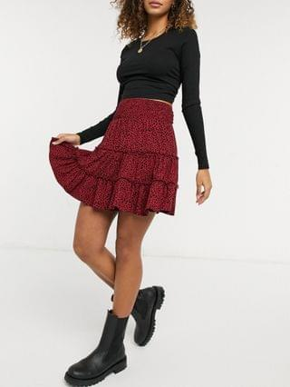 WOMEN tiered mini skirt in red and black animal print
