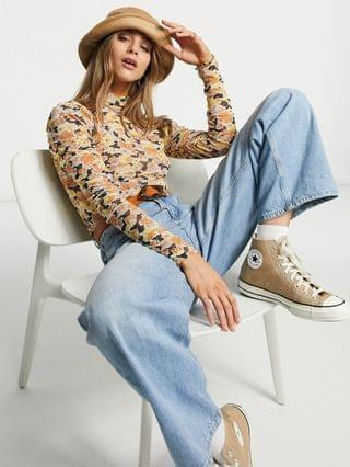WOMEN Fashion Union high neck long sleeve top in floral mesh - part of a set