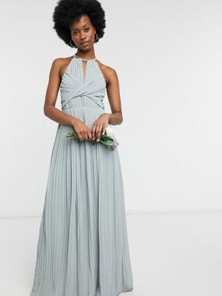 WOMEN TFNC bridesmaid pleated wrap detail maxi dress in sage