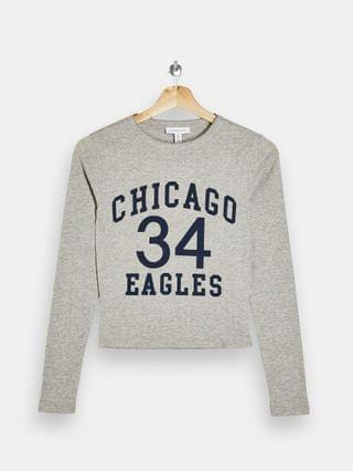 WOMEN Topshop chicago eagles long sleeve top in gray heather