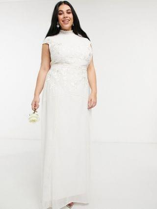 WOMEN Hope & Ivy Plus Bridal floral beaded and embroidered maxi dress with keyhole back in ivory