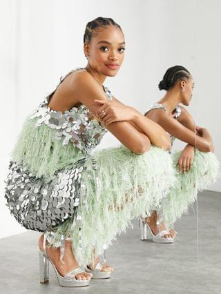 WOMEN EDITION paillette sequin set in silver and green
