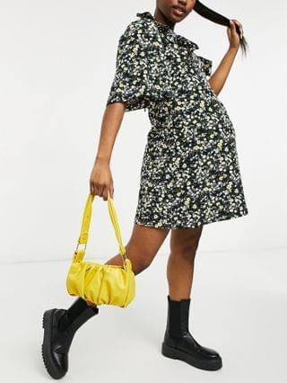 WOMEN Fashion Union Maternity mini dress with ruffle sleeve in ditsy floral
