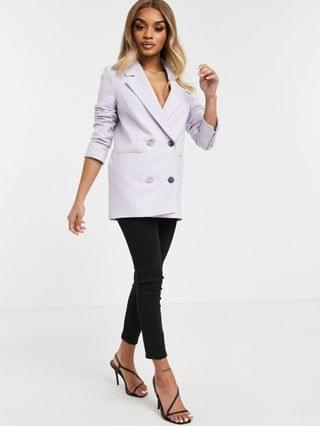 WOMEN River Island Petite double breasted blazer in lilac - part of a set