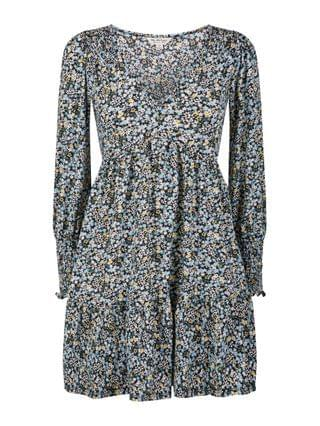 WOMEN Miss Selfridge smock dress in black and white micro-floral