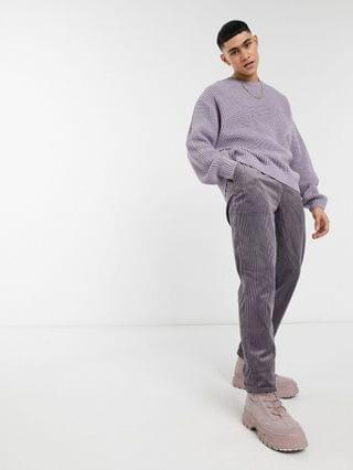 knit oversized fisherman ribbed sweater in lilac
