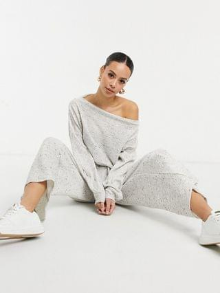 WOMEN tall jersey slouchy off shoulder jumpsuit in gray rib