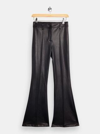 WOMEN Topshop Petite flared faux leather pants in black