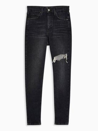 WOMEN Topshop Jamie thigh rip skinny jeans in washed black