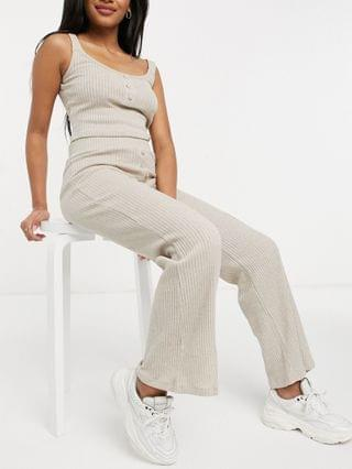 WOMEN River Island Petite ribbed jersey flared pants in oatmeal - part of a set