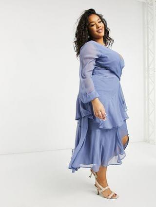 WOMEN Curve wrap waist midi dress with double layer skirt and long sleeves in light blue
