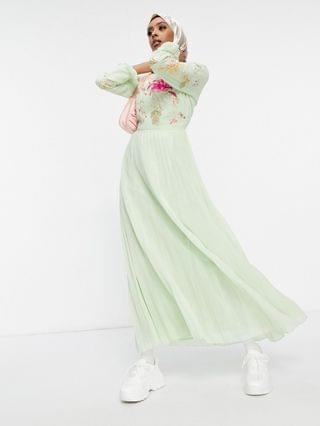 WOMEN embroidered pleated maxi dress with fluted sleeve in sage green