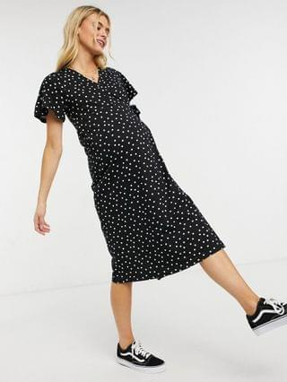 WOMEN Maternity textured midi wrap dress with flutter sleeve in black and white spot