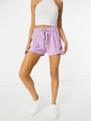 WOMEN River Island logo terrycloth runner shorts in purple - part of a set