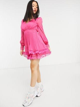 WOMEN Petite Exclusive pleated skater mini dress with lace detail in hot pink