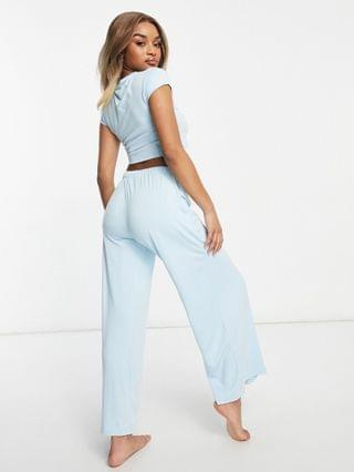 WOMEN Missguided Petite crop top and wide leg pajama set in baby blue