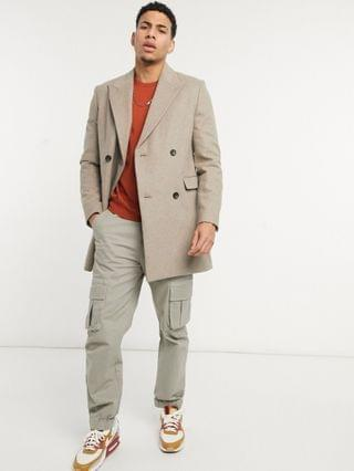 Moss London double breasted overcoat in oatmeal