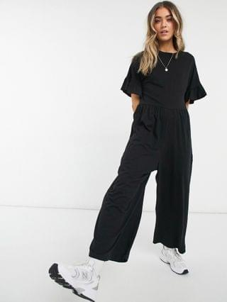 WOMEN jersey smock jumpsuit with frill sleeve in black