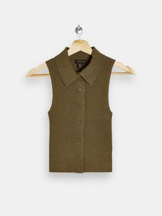 WOMEN Topshop coordinating knit button down polo top in khaki
