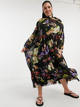 WOMEN Curve high neck tiered maxi dress in bold winter floral