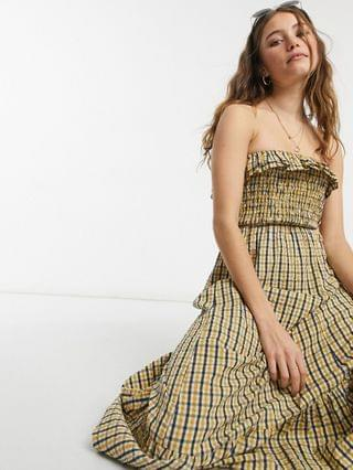 WOMEN bandeau shirred midi sundress in plaid