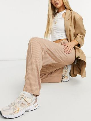 WOMEN New Look ribbed wide leg pants in camel