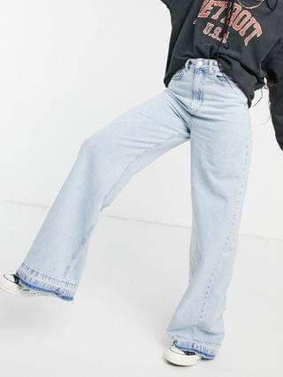 WOMEN Stradivarius 90s super wide leg jeans in light blue