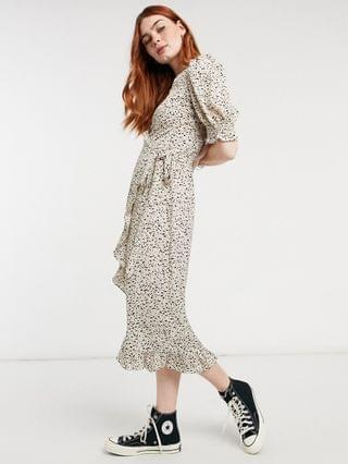 WOMEN Outrageous Fortune exclusive midi wrap dress with gathered sleeves in spot