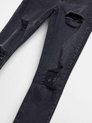 WOMEN Topshop Jamie super rip skinny jeans in washed black