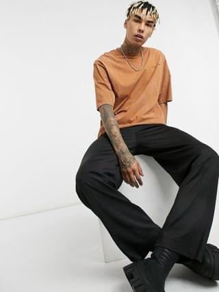 MEN COLLUSION oversized t-shirt in brown acid wash co-ord
