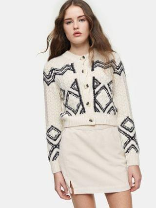 WOMEN Topshop cropped cardigan in black and white