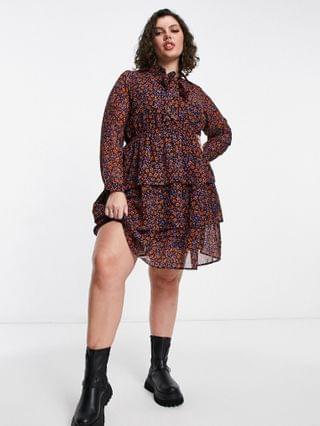 WOMEN Yours tiered pussybow tunic mini dress in purple floral
