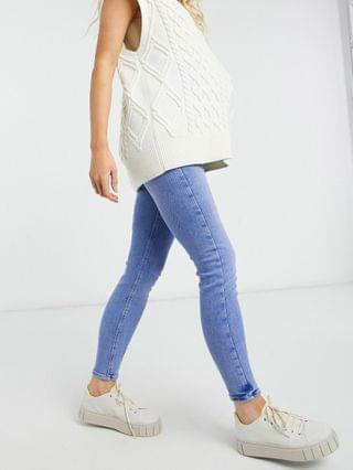 WOMEN River Island Maternity Molly overbump skinny jeans in buzzy blue