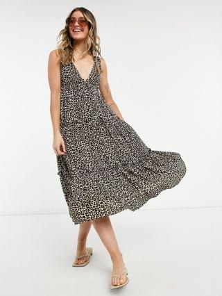 WOMEN button front tiered midi sundress in leopard print