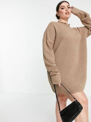 WOMEN In The Style Plus x Megan Mckenna knit slouch off-the-shoulder dress in taupe