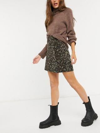 WOMEN Fashion Union high waisted a-line skirt in brushed animal print