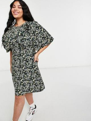 WOMEN Fashion Union Plus mini dress with ruffle sleeve in ditsy floral
