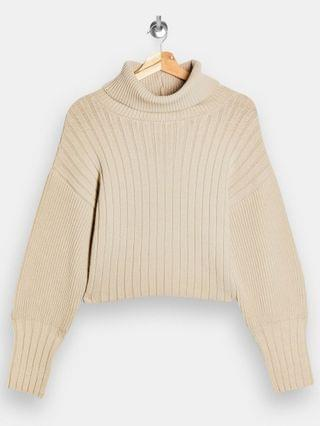 WOMEN Topshop turn-back cropped knit sweater in natural