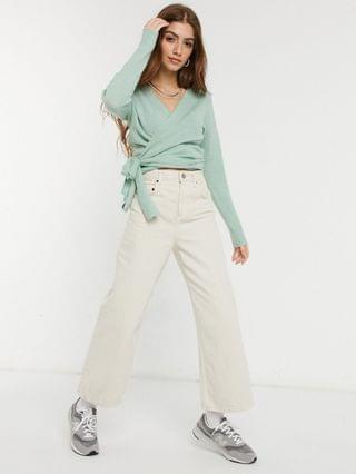 WOMEN Nobody's Child knitted wrap sweater in mint