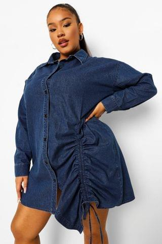 WOMEN Plus Ruched Denim Shirt Dress